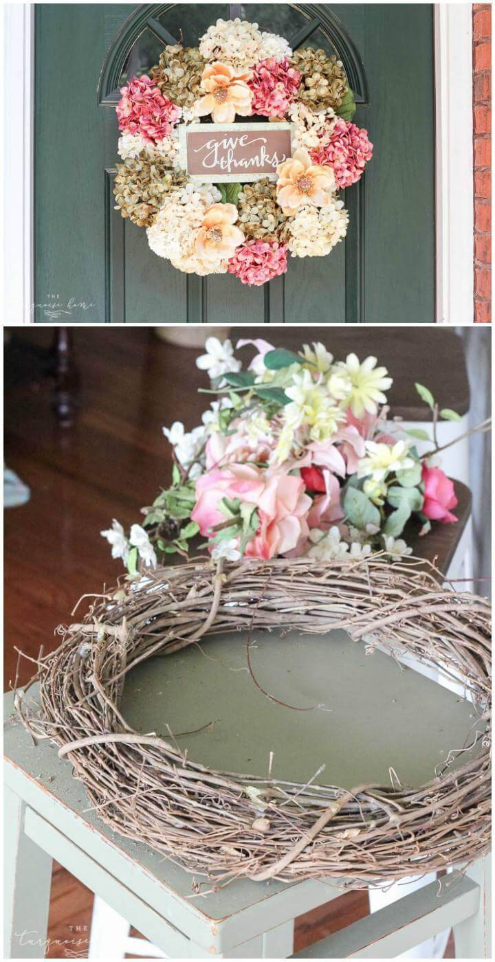 DIY Handcrafted Faux Hydrangea Fall Wreath