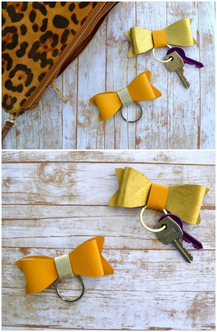 DIY Handcrafted Faux Leather Bow KeychainsDIY Handcrafted Faux Leather Bow Keychains