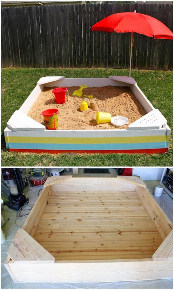 DIY Handcrafted Wooden Sandbox with Umbrella