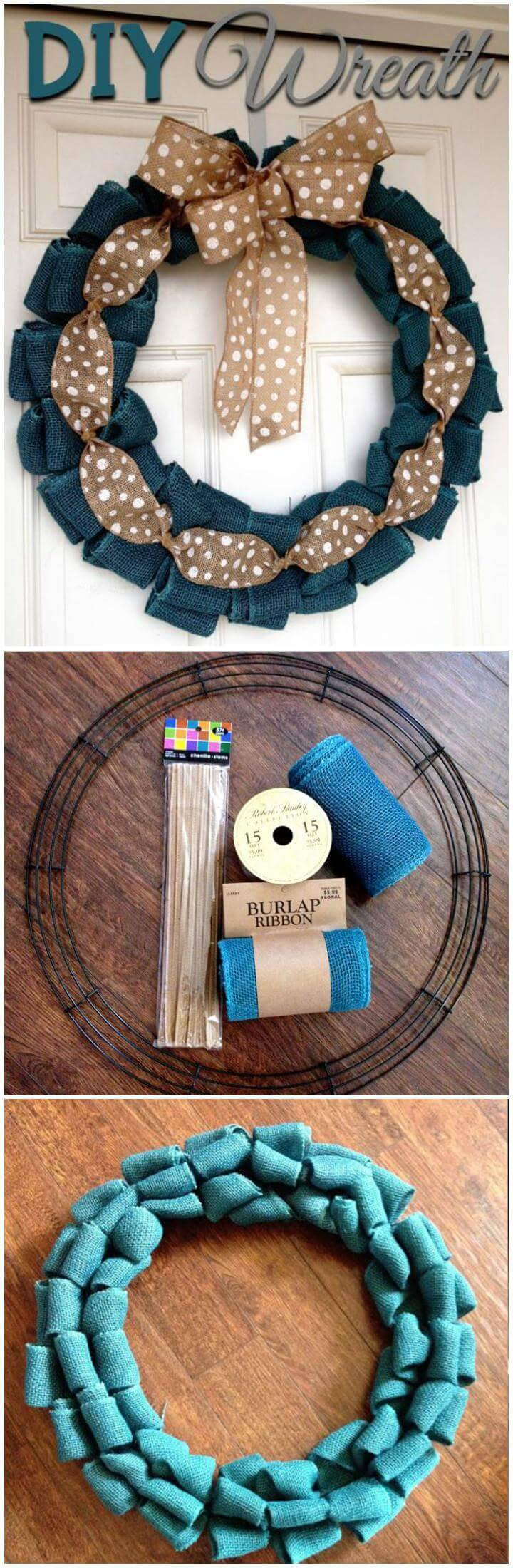 DIY Handmade Bow Burlap Wreath