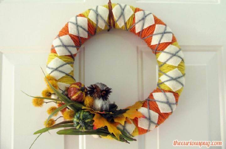 DIY Handmade Colorful Yarn Fall Wreath