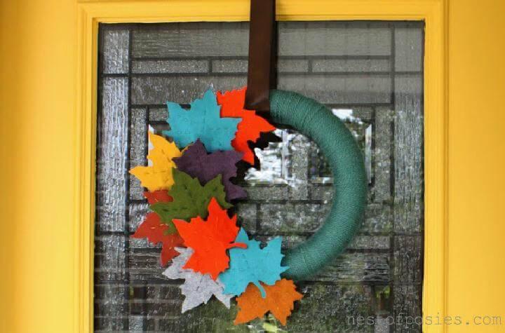DIY Handmade Fall Felt Leaf Wreath