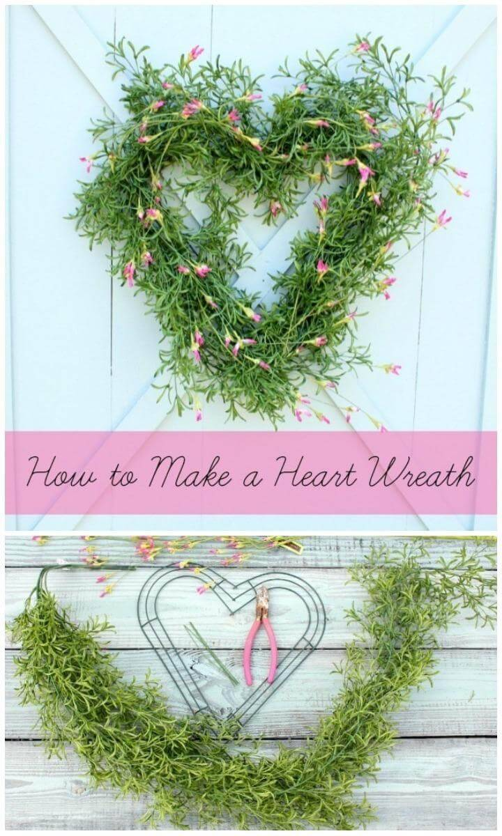 DIY Handmade Greenery and Flower Heart Wreath