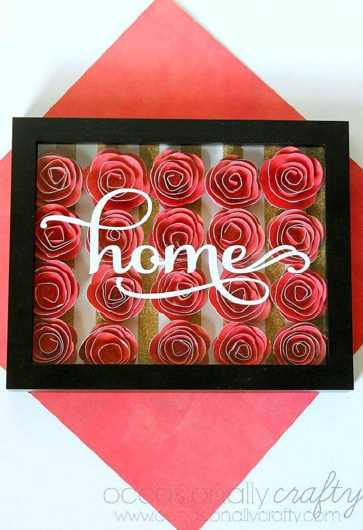 DIY Handmade Home Wall Art in 3D Flower Shadowbox