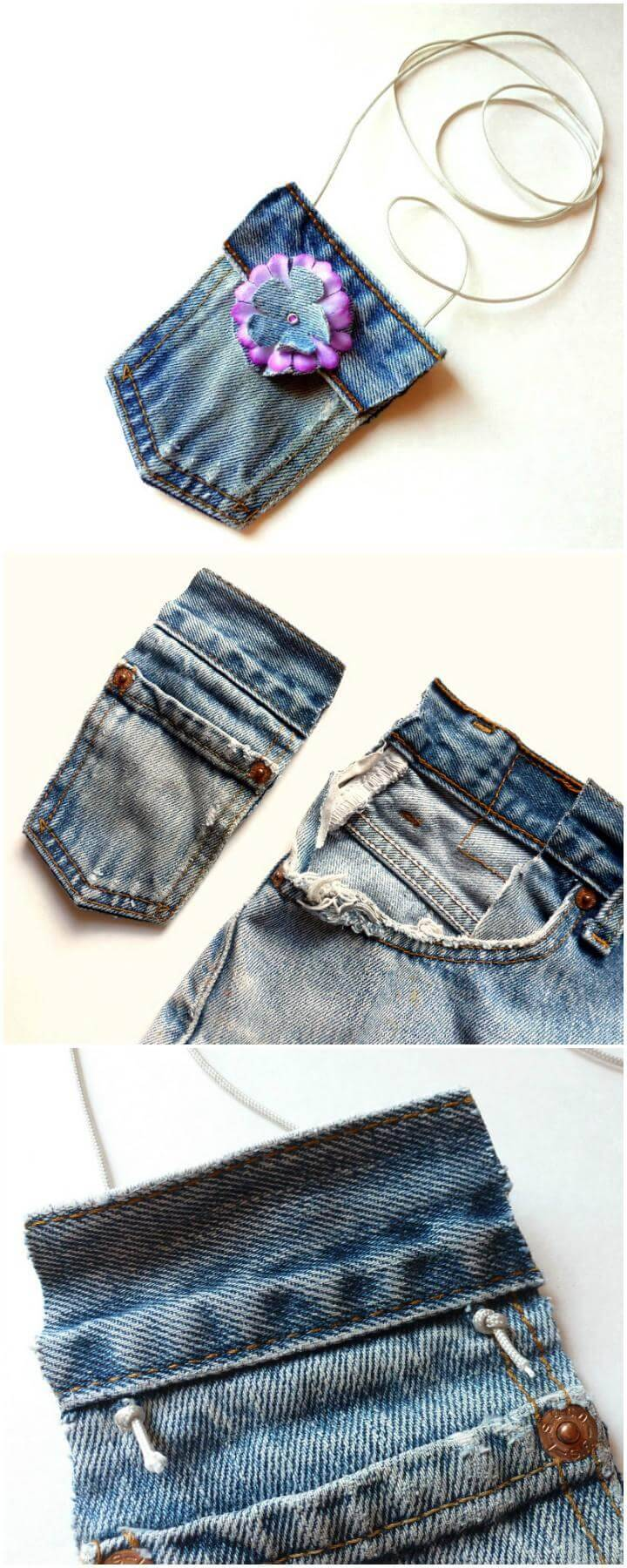 DIY Handmade No-Sew Mini Jean Purse