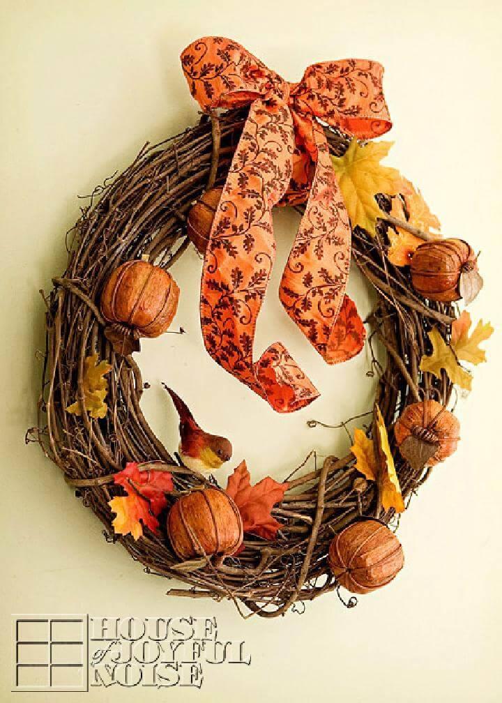 DIY Handmade Rustic Autumn Wreath