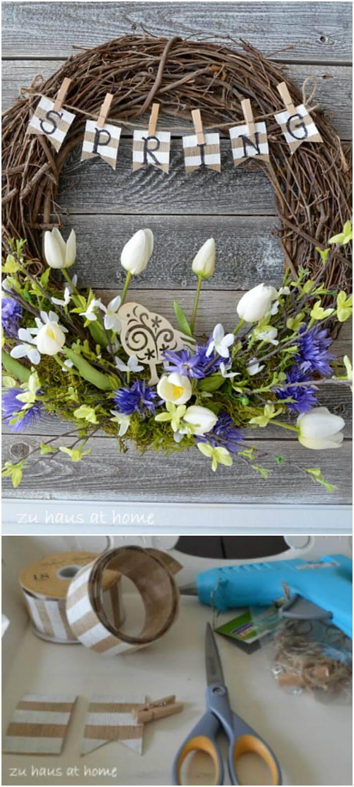 DIY Handmade Rustic Floral Wreath