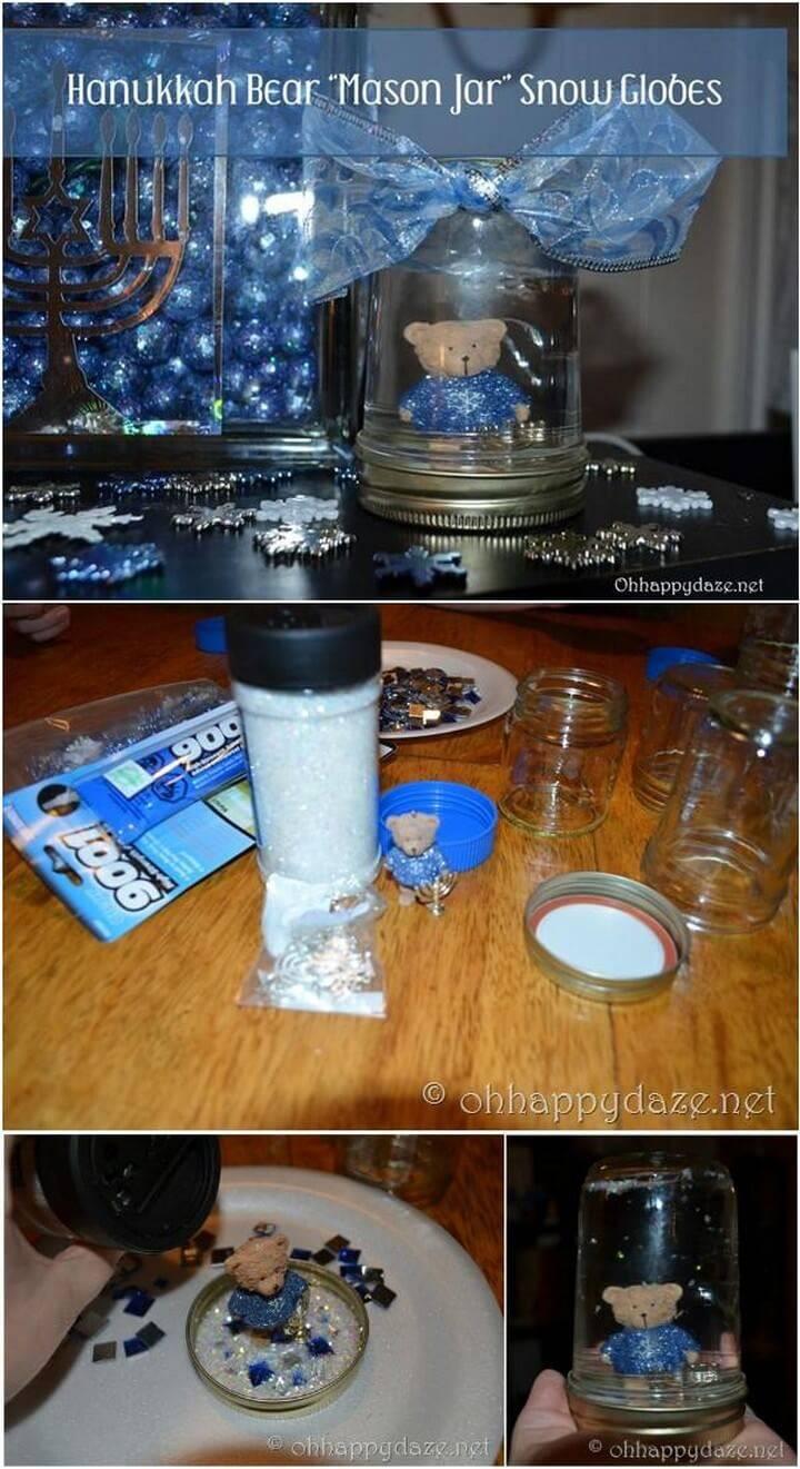 DIY Hanukkah Bear Mason Jar Snow Globe Gift