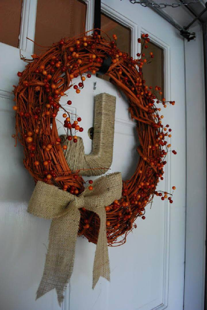 DIY Homemade Beautiful Monogram Fall Wreath