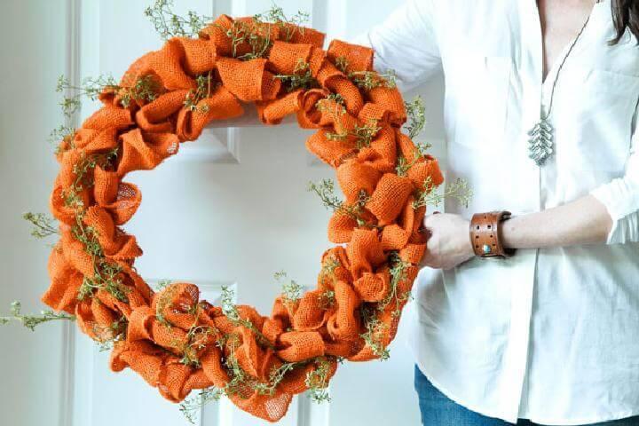 DIY Homemade Burlap Fall or Autumn Wreath