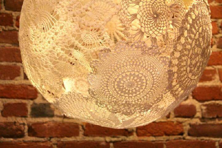 DIY Homemade Doily Lamp