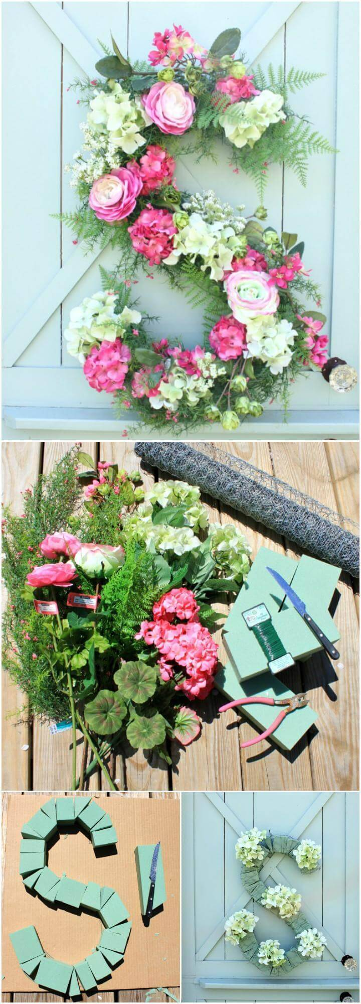 DIY Homemade Front Door Floral Monogram