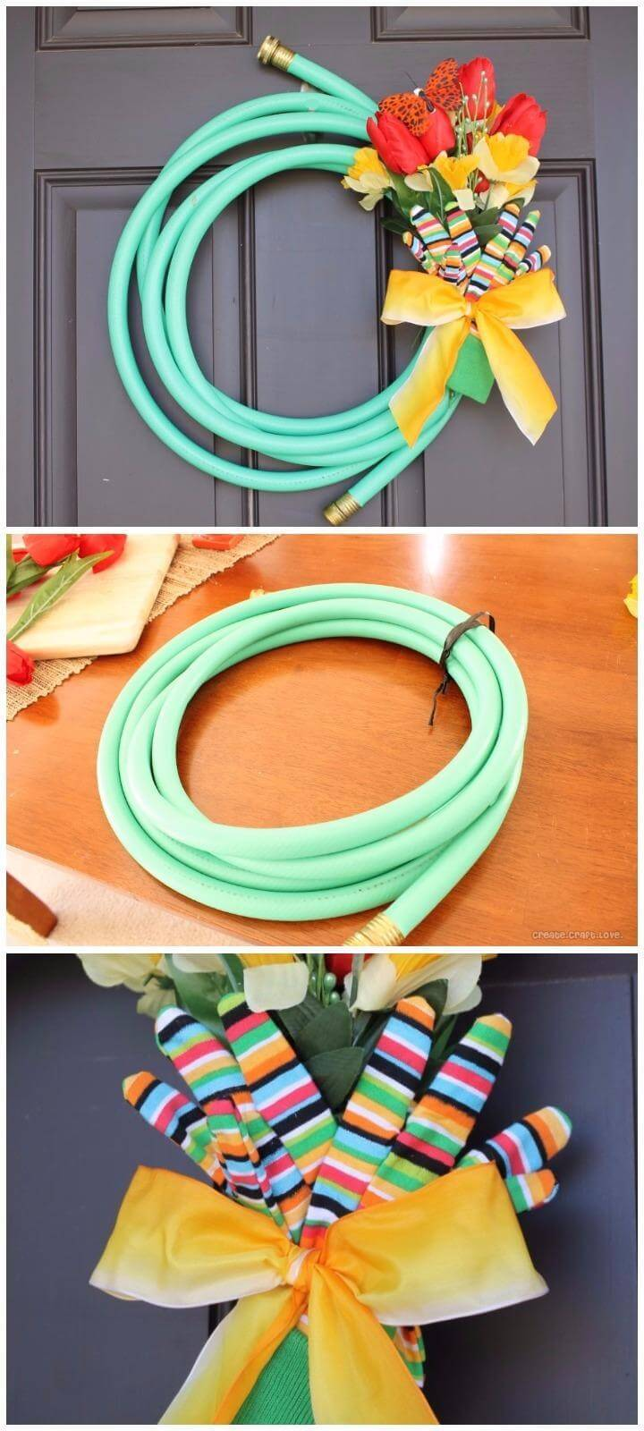 DIY Homemade Garden Hose Spring Wreath