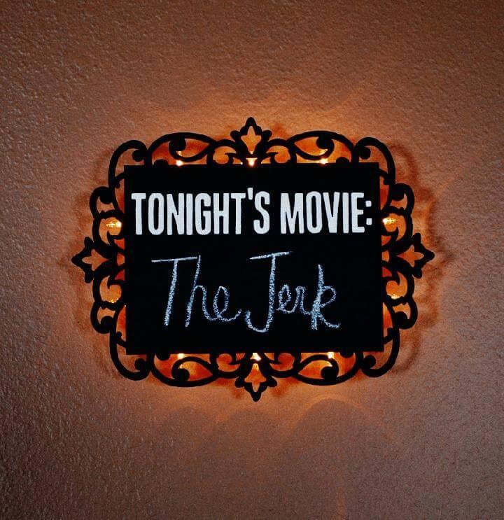 DIY Homemade Illuminated Chalkboard Sign