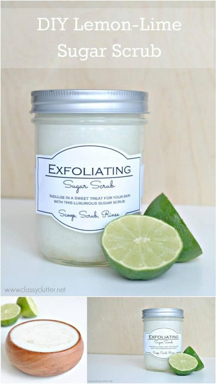 DIY Homemade Lemon Lime Sugar Scrub