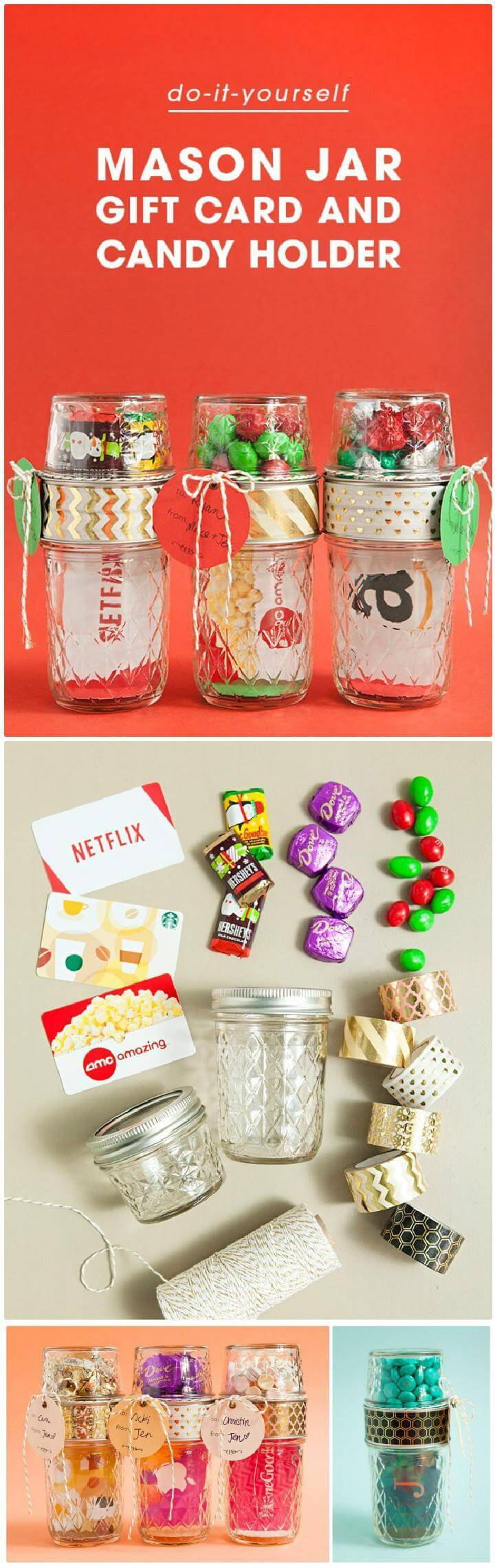 160 diy mason jar crafts and gift ideas diy crafts diy homemade mason jar gift card and candy holders solutioingenieria Image collections