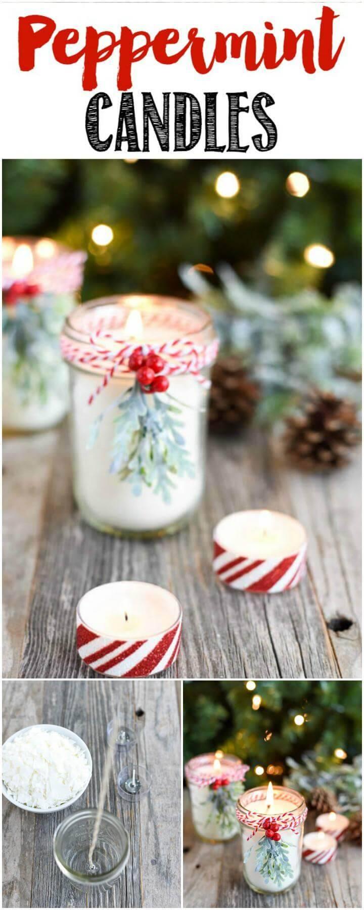 DIY Homemade Peppermint Mason Jar Candles