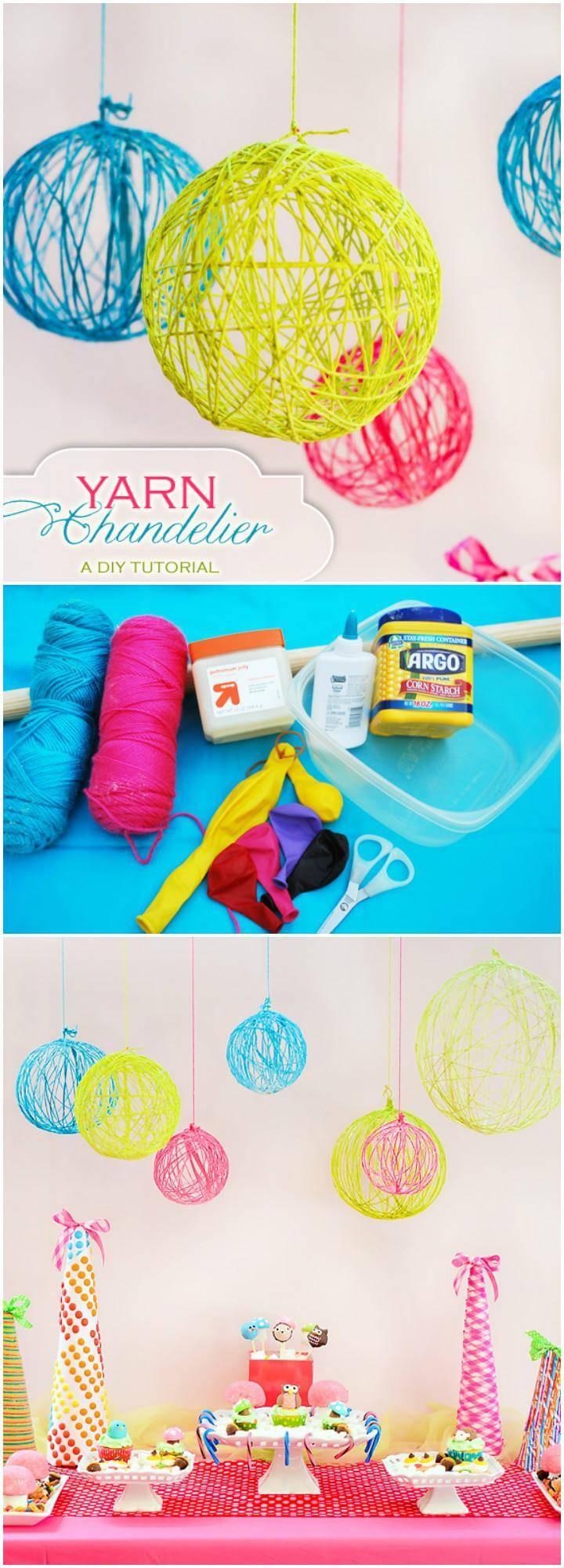 DIY Homemade Yarn Chandelier