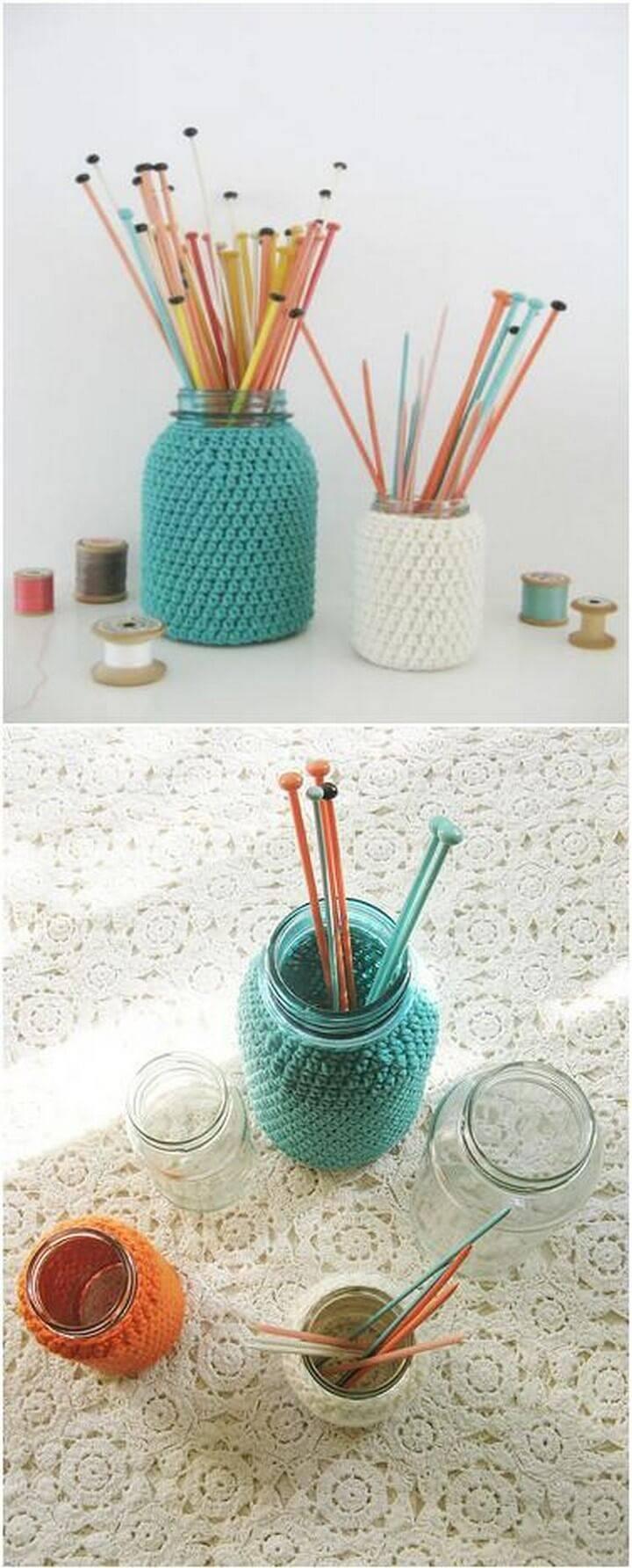 DIY Knitted Mason Jar Knitting Needle Holders