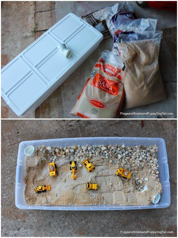 DIY Large Rubbermaid Sand and Rock Box