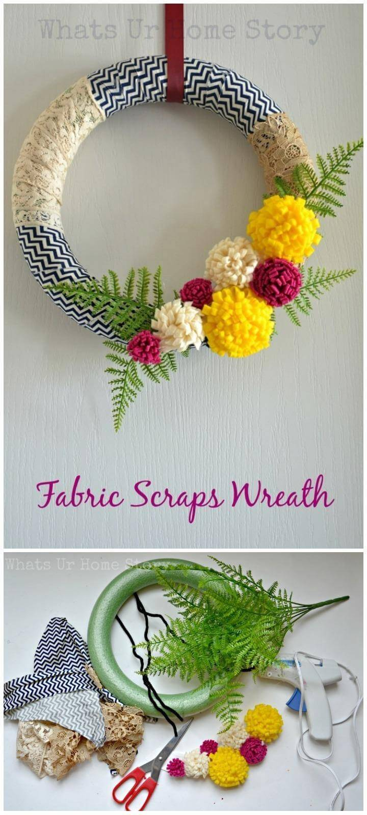 DIY Lovely Fabric and Felt Flower Wreath
