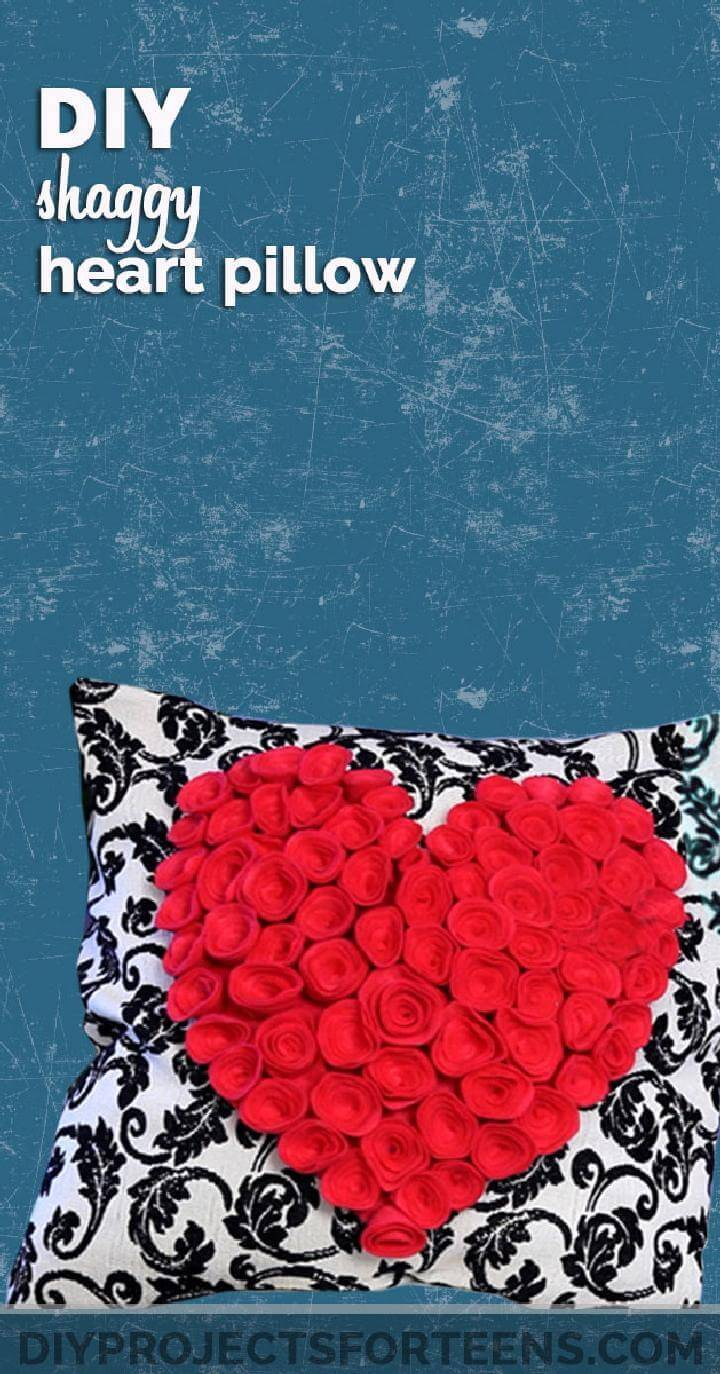 DIY Lovely Shaggy Heart Pillow