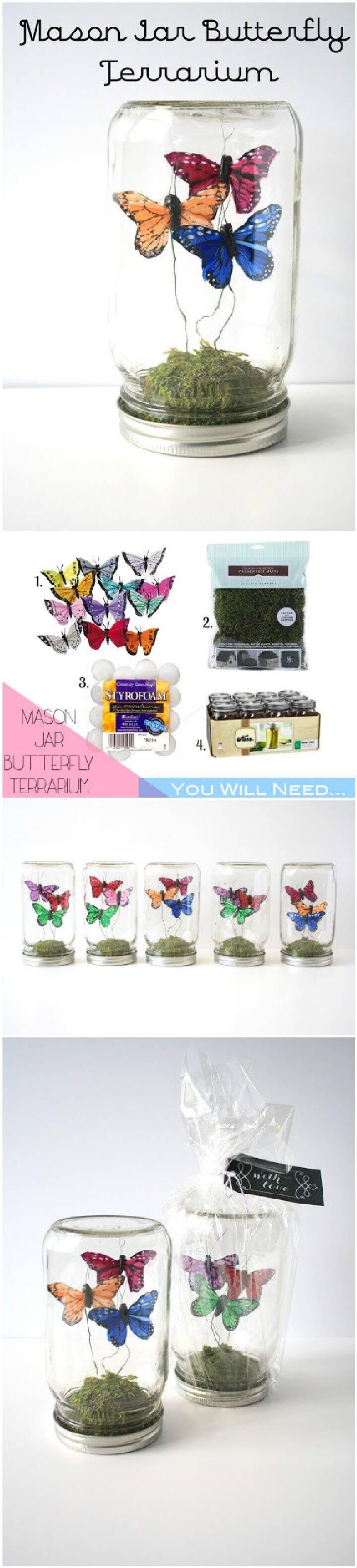 DIY Mason Jar Butterfly Terrarium Gifts