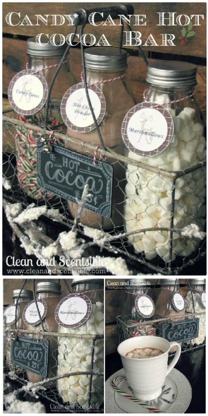 DIY Mason Jar Candy Cane Hot Cocoa Bar