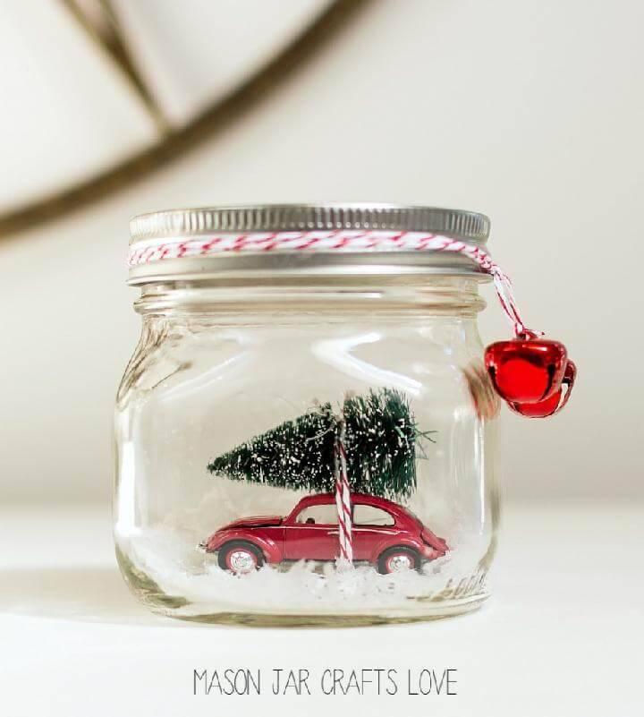 DIY Mason Jar Car in Jar Snow Globe Gift