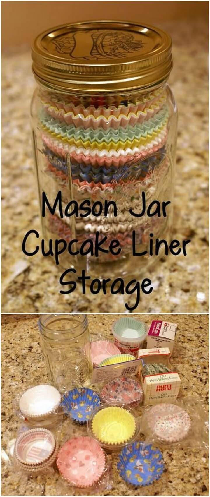 DIY Mason Jar Cupcake Liner Storage