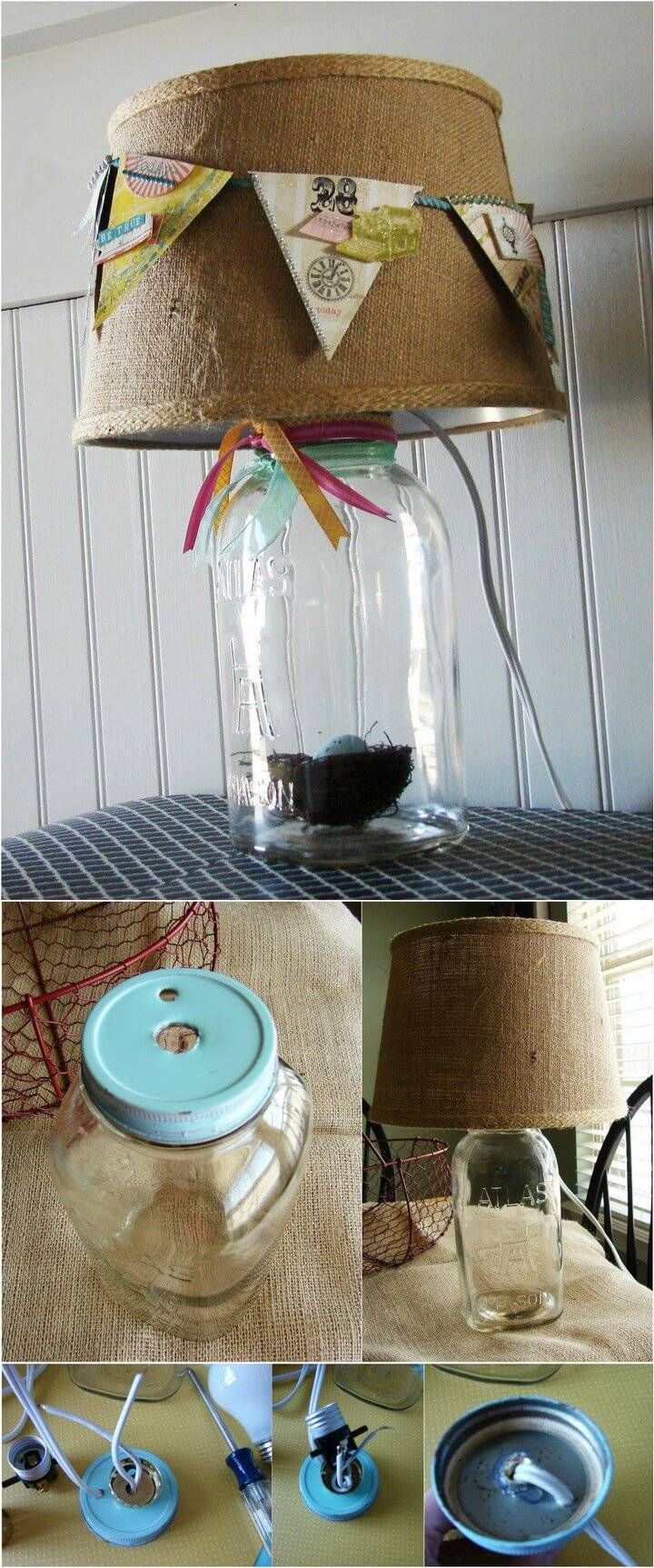 DIY Mason Jar Lamp with Spring Banner Lampshade