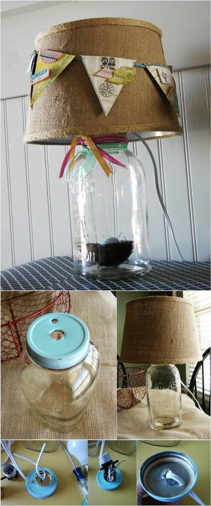 DIY Mason Jar Lamp with Spring Banner Lampshade