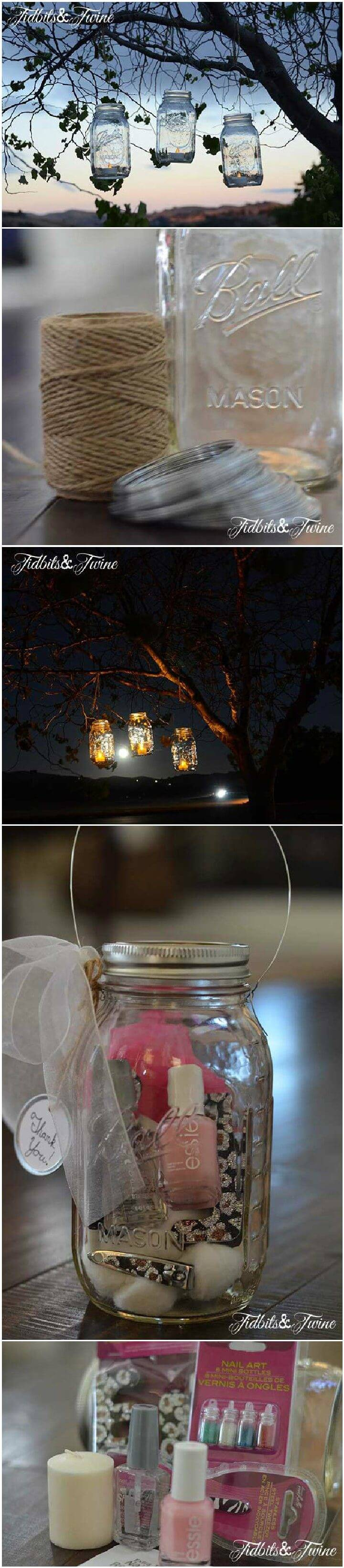 DIY Mason Jar Manicure Set Lantern Gift