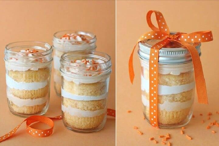 DIY Mason Jar Orange Sprinkled Dreamsicle Cupcakes