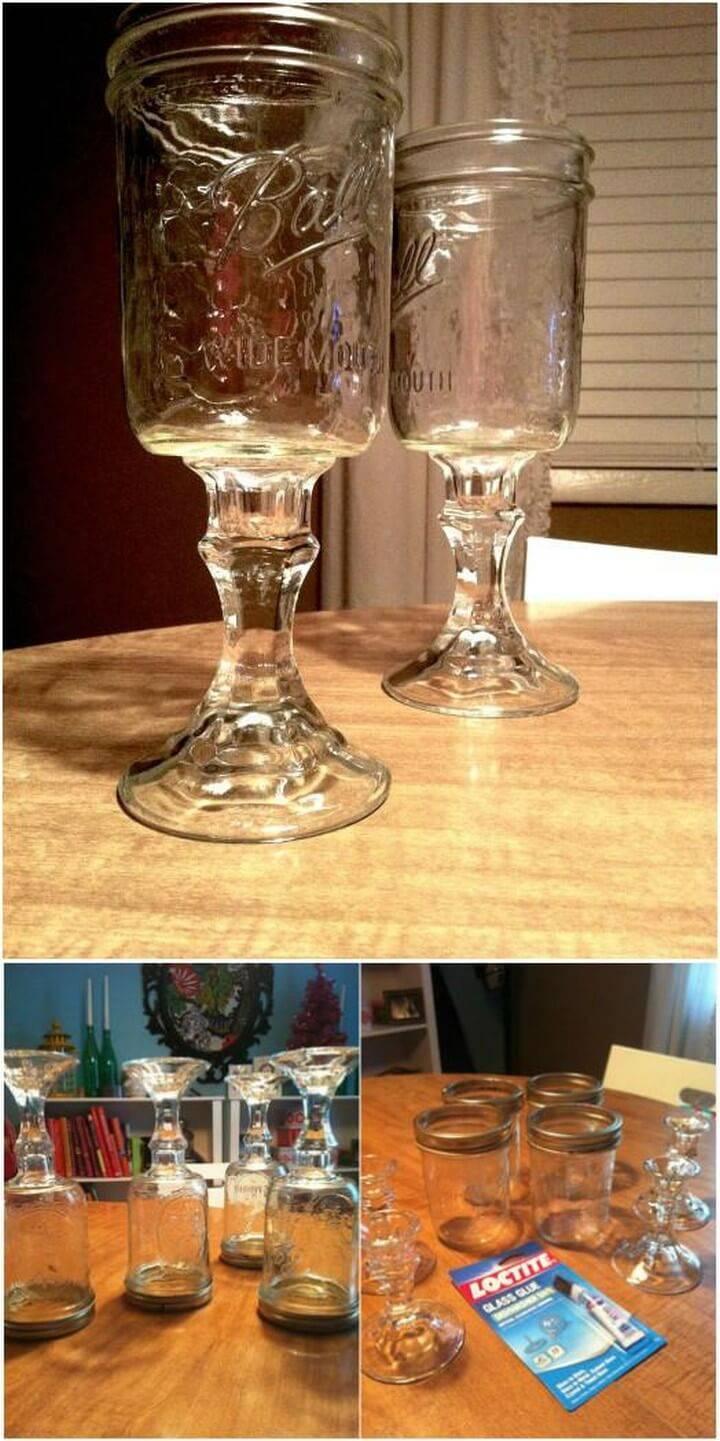 DIY Mason Jar and Glass Candlestick Drink Glasses