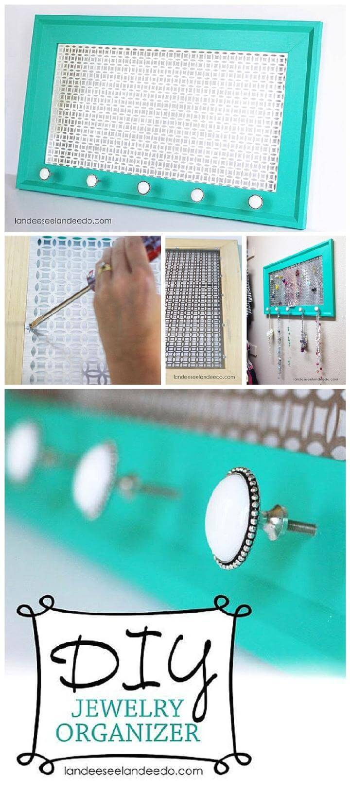 DIY Metal Sheet and Old Picture Frame Jewelry Organizer