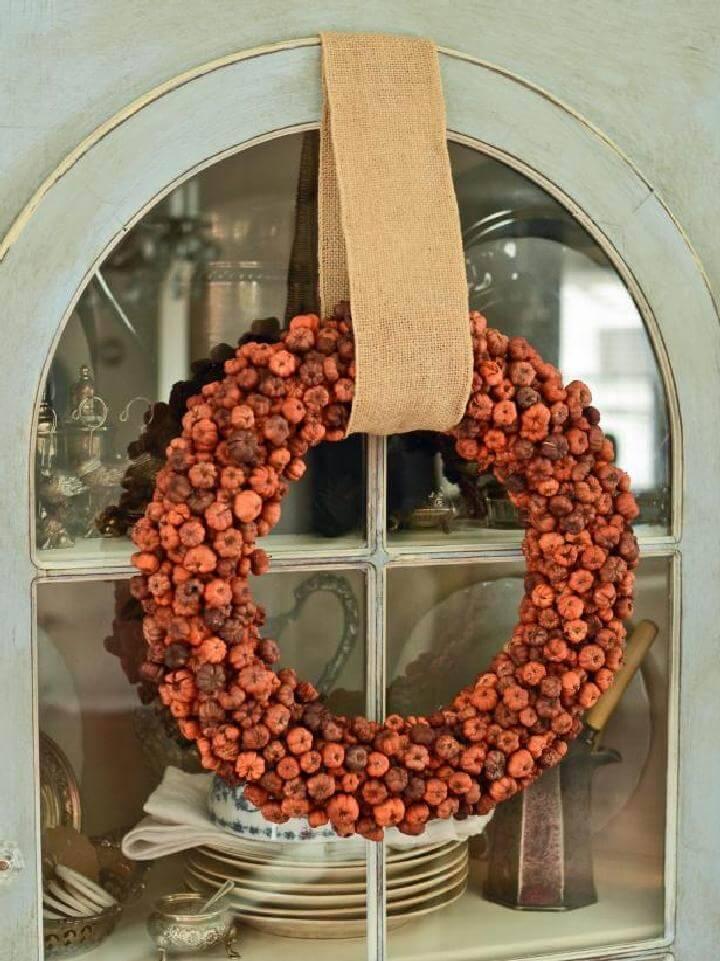 DIY Mini Pumpkin Easy Fall Wreath Tutorial