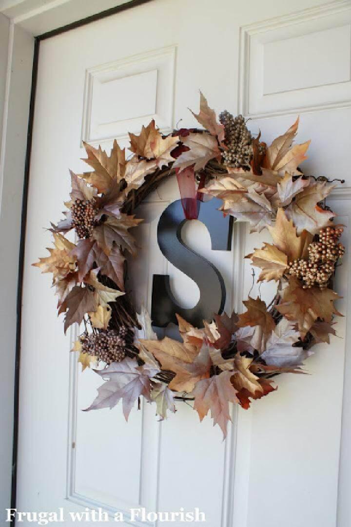 DIY Monogram Fall Wreath with Bling