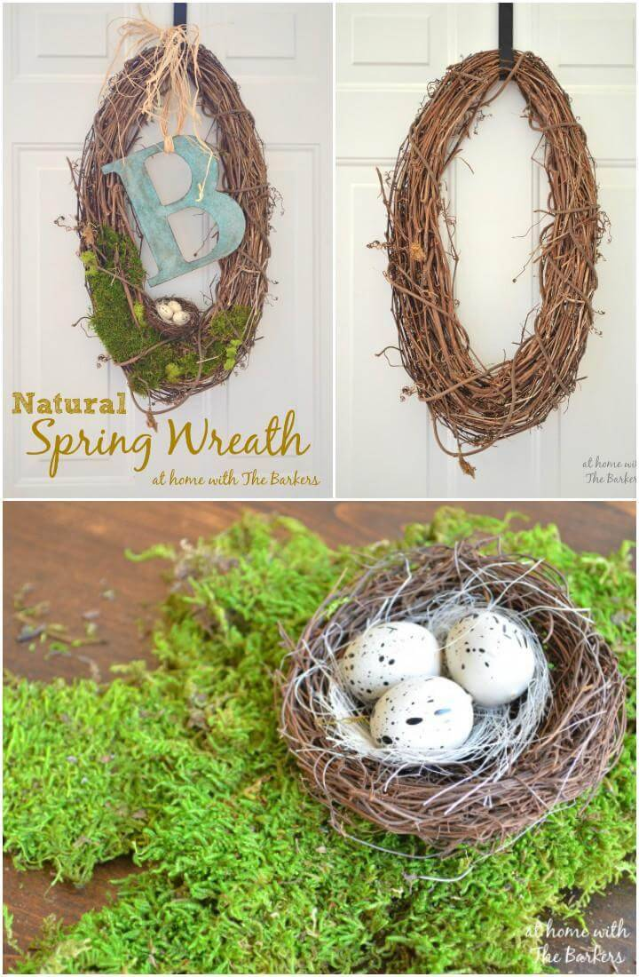 DIY Natural Rustic Monogram Spring Wreath