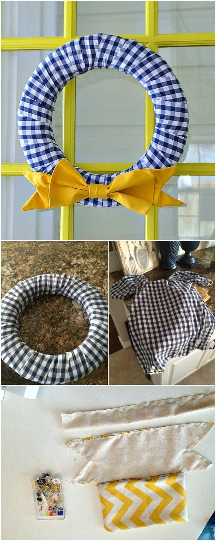 DIY Old Checked Shirt Bow Wreath