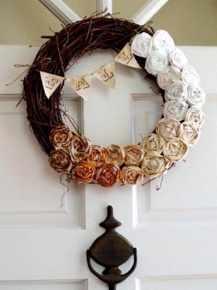 DIY Ombre Rosette Fall Wreath