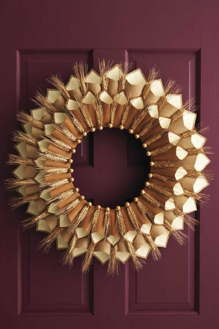 DIY Paper Cone Gratitude Fall Wreath