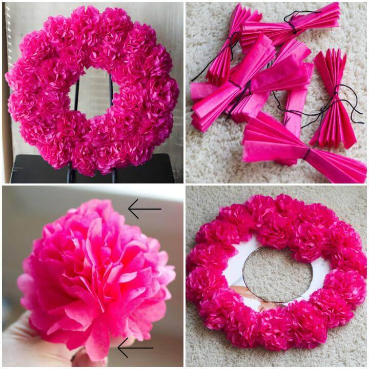 DIY Pink Paper Flower Wreath