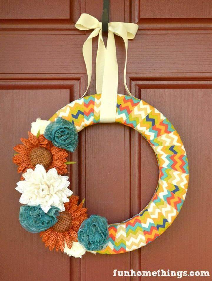 DIY Precious Fabric Wrapped Fall Wreath