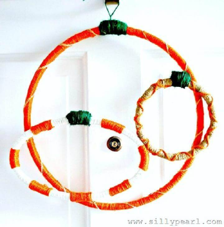 DIY Precious Yarn Embroidery Hoop Pumpkin Fall Wreath