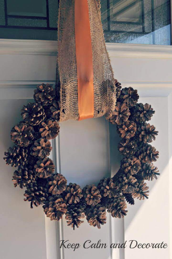 DIY Pretty Awesome Pinecones Fall Wreath