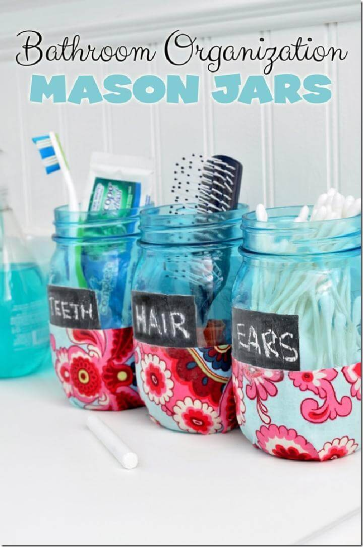 DIY Recycled Mason Jar Bathroom Organization