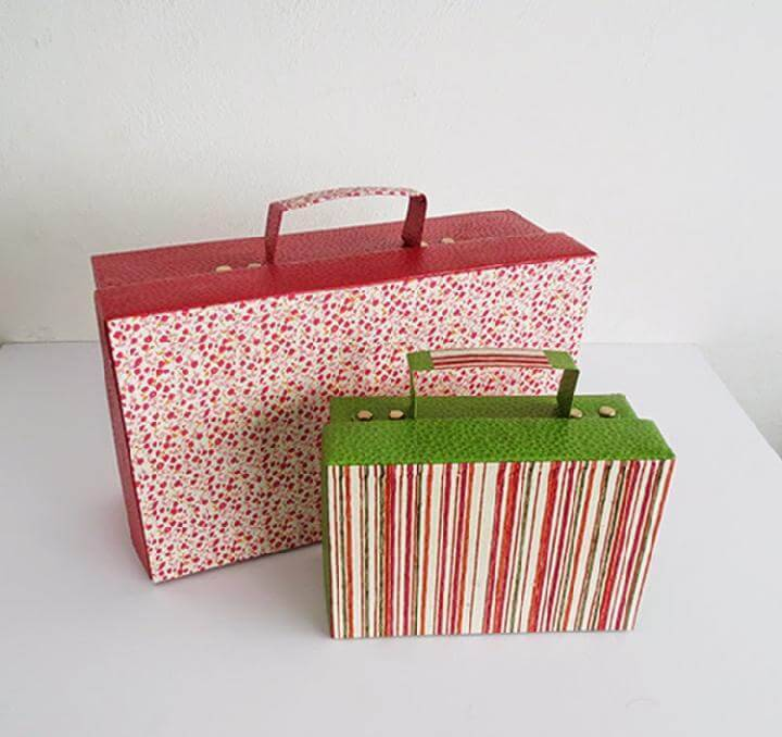 DIY Repurposed Shoes Box Suitcases