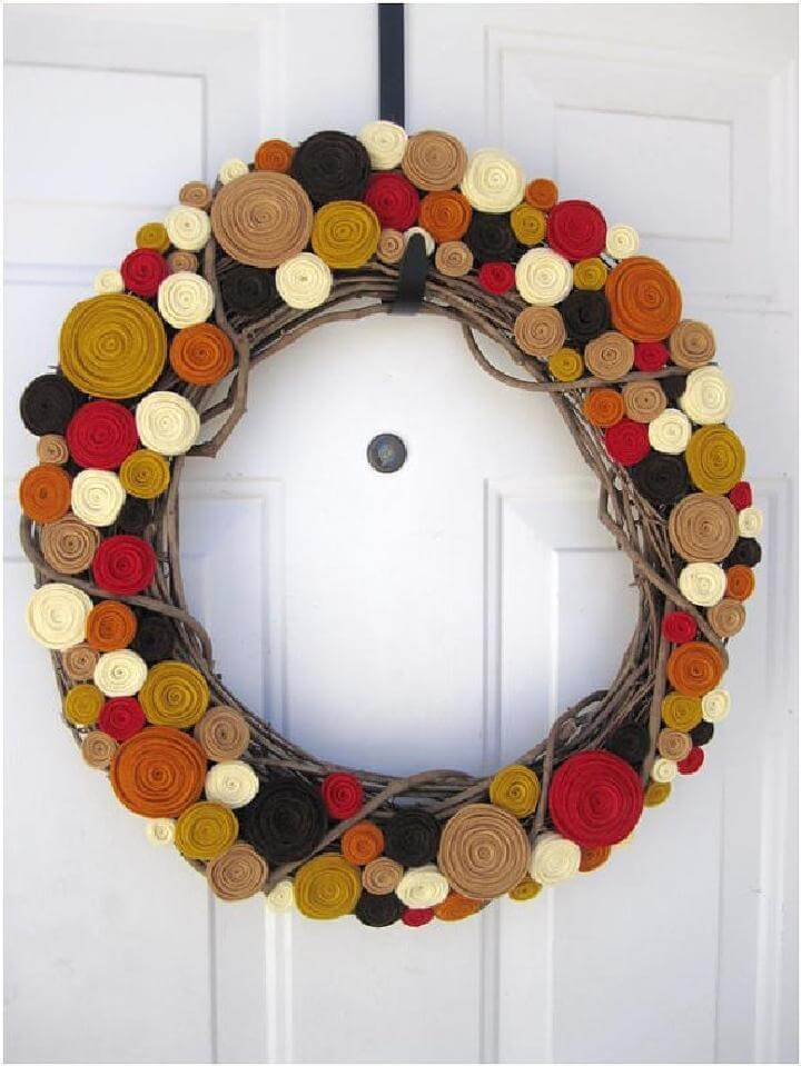 DIY Rolled Felt Flower Precious Fall Wreath
