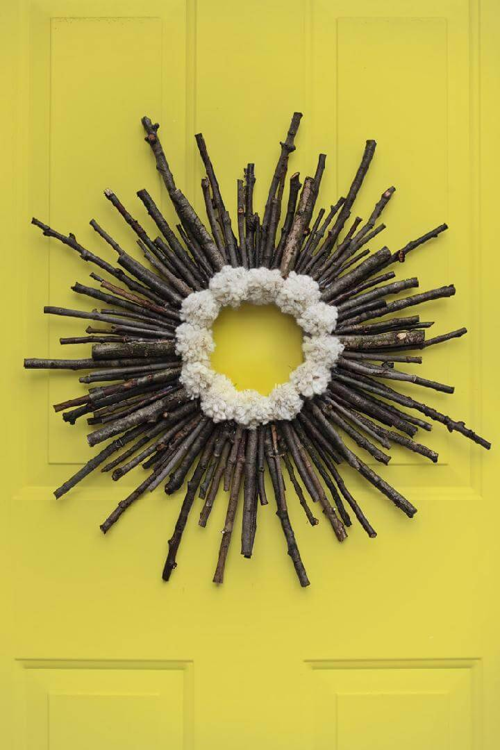 DIY Rustic Twig Pom-Pom Fall Wreath
